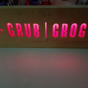 Grub and Grog Sign - Pink LED