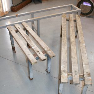 Metal and Oak Bench Set - Industrial
