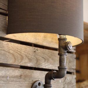 Pipe Wall Light With Grey Shade